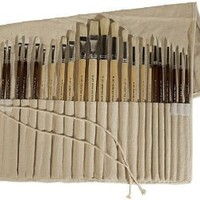 Amazon.com: Art Advantage Oil and Acrylic Brush Set, 24-Piece: Arts, Crafts & Sewing