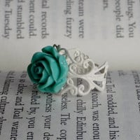 White Filigree Ring with Light Aqua Rose - Flower Ring