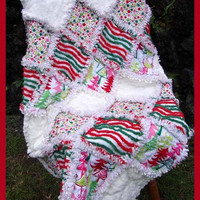 Christmas Baby Rag Quilt - Minky, Chenille - Funky Christmas Trees - Polka Dots - OOAK