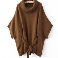 Brown Cape-style Loose Bat Sleeve Sweater$43.00