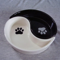 World Market Yin Yang Small Pet Feeding Bowls Set Black White - Dishes & Feeders