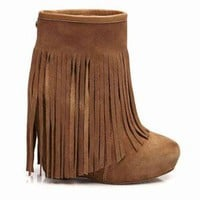 Koolaburra Veleta Wedge Heel Fringe Boot in Chestnut