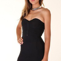 BLACK SWEETHEART ZIPPER HIGH LOW MAXI DRESS @ KiwiLook fashion