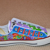 "Custom Converse, Personalized Doodles with ""Circles and Stripes"""