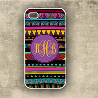 iPhone 4 case -  Aztec tribal pattern, bright colors - monogram Iphone cover (9888)