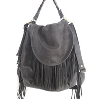 Leather bag-Fringe Hobo gray bag