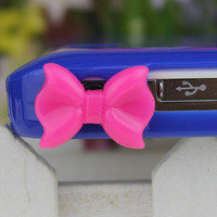 3.5mm Pink bowknot Dust-proof Plug  for iphone 4s,iPhone 4,iPhone 3gs,iPod Touch 4,HTC,Nokai,Samsung,Sony