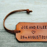 Single Custom Leather Luggage Tag Stamped with by OfTheFountain
