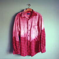 Bleached ombre red flannel ONE OF A KIND
