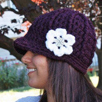Crochet Newsboy Cap, Plum with Frosty White Flower