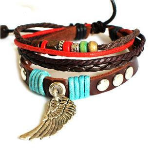 Adjustable Couple bracelets Cuff made of Leather Ropes and Color Wooden Beads unisex bracelet girl  bracelet Jewelry Bangle bracelet  747S