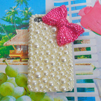 iPhone 4 4S hard Case cover with artificial pearls for apple iPhone 4 case ,iPhone 4 S case,iPhone 4GS case ,iPhone hand case cover SJK-2462