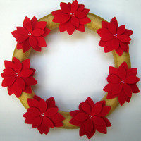Christmas Wreath Felt Poinsettia Decor Holiday Decor Red Honey Gold 14 inch