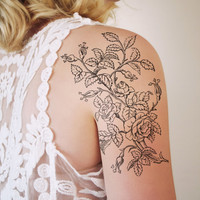 Temporary tattoo with vintage roses (floral temporary tattoo)