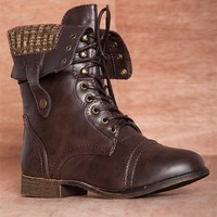 Bring the Battle Sweater Cuff Fold Down Lace Up Combat Boots BEYONCE-11 - Brown
