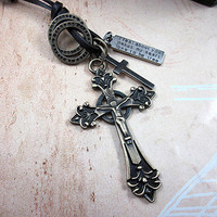 soft leather necklace, crossing pendant men leather long necklace, women leather necklace  PL0327