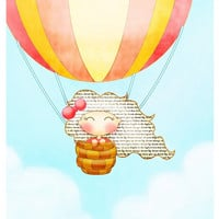Kids wall art, children decor, Hot Air Balloon girl illustration red, yellow, blue, 8x10 whimsical print, nursery art