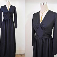 70's Maxi Dress - Long Black Dress - Evening Dress - Ruched Bodice & Long Sleeves - Cocktail Party Heaven
