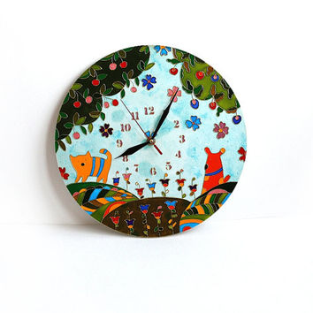 wall clock.  Kids Clock. Nursery wall art.  Hand-painted. cat. dog. home decor. painting. gold. tree. wooden green. Stained glass