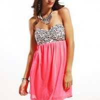 Reverse Tribal Neon Mini Dress in Neon Pink