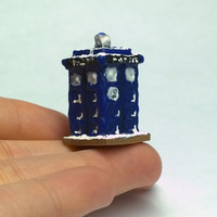 Tardis Gingerbread House, 1:12 Scale Dollhouse Miniature, Doctor Who Gingerbread House, Made to Order