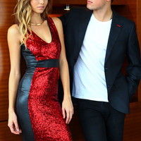 Red Sequin Leatherette Mod Dress