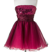 Magenta Sequin Tulle Dress