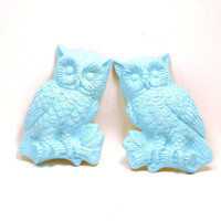 vintage owl wall hangings  //  kitsch housewares, woodland home decor, owls, pastels, aqua, turquoise, wall art, upcycled