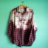 "Bleached ombre flannel ""western"" ONE OF A KIND"