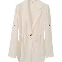 Blends BeigeLong Sleeve V-Neck Thin Trench Coat  style 819zz020-Beige in Outerwear
