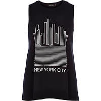 River Island Womens Black New York city print swing tank top