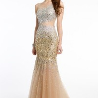 Mesh Trumpet Illusion Dress with Open Back