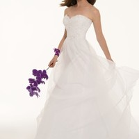 Lace and Textured Organza Gown