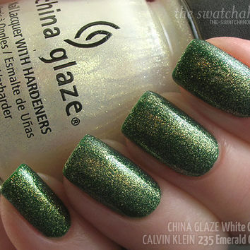 Layering NOTD: China Glaze White Cap over Calvin Klein 235 Emerald Green | The Swatchaholic . a blog about nail polish and makeup