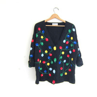 vintage ugly Christmas sweater // tacky christmas sweater cardigan // holiday party sweater in black. size XL
