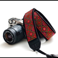 SLR camera strap in Interchangeable Design   -Raspberry delight Custom Camera strap