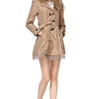 TopStyliShop Women's Point Collar Coffee Coat with Lace Herm