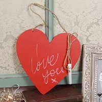 Red Heart Hanging Chalkboard