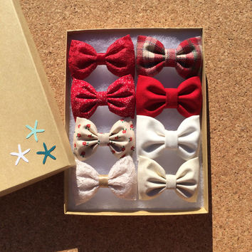 Holiday/Christmas Seaside Sparrow hair bow set of eight.  Bows can be combined with any color available on our site.  hair bow bow set bow