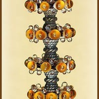 Lampwork Amber Glass Beads - Handmade Supplies Lampwork  Bubble Beads Disc Set (6)