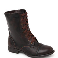 Black Poppy Over Distressed Lace Up Boots at PacSun.com