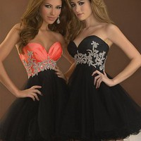 Cheap Elegant Black Strapless Sweetheart Cocktail Dress - Basadress.com