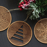 Wood Tree Ornaments - Unique Christmas Ornament (Set of 3)