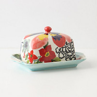 Painted Amaryllis Butter Dish