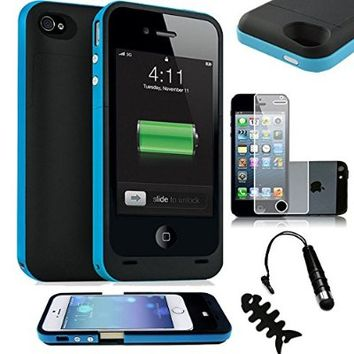 SQdeal® Ultra Slim Iphone 5 5s Rechargeable Portable External Battery Backup Charger Case Outer Jacket Battery Extended Back up Power Bank - 2500 mAh (Blue)