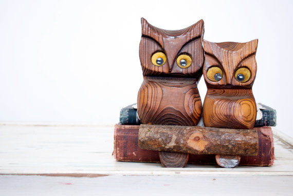 Vintage Wooden Owl Pair on a Log Wall Hanging