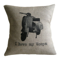 I Love my Vespa Hessian Burlap Pillow Cushion Cover 16""