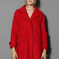 Pockets Woolen Coat in Jubilant Red Red