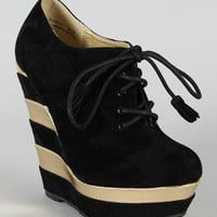 Dollhouse Glamour Lace Up Wedge Bootie
