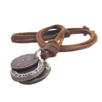soft leather necklace, metal pendant men leather long necklace, women leather necklace  PL0400